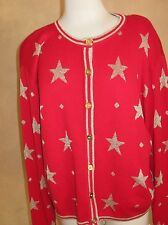 Ugly Christmas First Issue Vintage Gold Stars on Red Sweater Size M Medium
