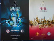CHELSEA CHAMPIONS LEAGUE FINAL PROGRAMMES 2008 v MAN UTD & 2012 v BAYERN MUNICH