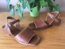 Ladies Ecco brown leather open toe sling back sandals UK 4.5 EU 37.5
