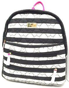 BETSEY JOHNSON Backpack *Black/White Stripe/Quilted Heart *Shoulder Book Bag New