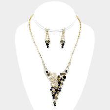 Black /clear/gold rhinestone /crystal necklace set fashion jewelry fp e
