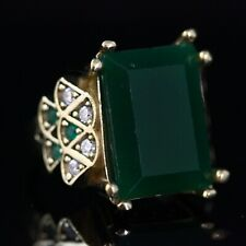 Emerald Ladies Ring 925 Sterling Silver Handmade Authentic Turkish  Size 7-12