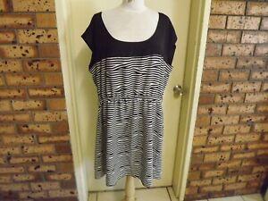 City Chic Black & White Striped Dress sz L