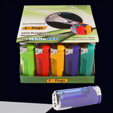 50 ct 5-Flags Electronic Lighters - LED flashlight  - Free Shipping
