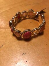 $40 Anne Klein Gold Tone orange stone stretch bracelet D16