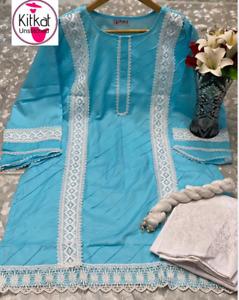 cotton with lace and pentax work  pakistani indian  ladies kurti  asian  kameez