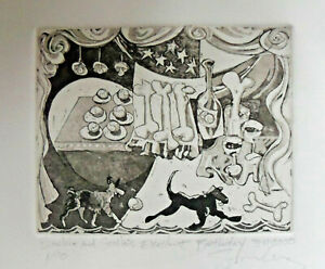 "Etching Signed Sumler ""Binchie and Stella's Excellent Birthday"" 1/10 c. 2000"