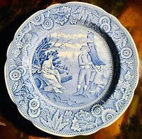 "Spode Blue Room Collection Blue & White Dinner Plate 10-1/2"" ""WOODMAN"" Excellent"