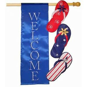 "WELCOME PATRIOTIC FLIP FLOPS SCULPTED APPLIQUE LARGE HOUSE FLAG 28"" X 44"""
