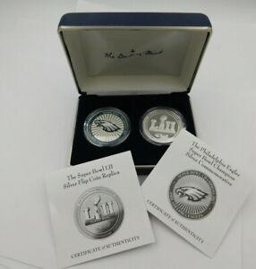 Super Bowl LII Commemorative Set of 2 .999 Silver Superbowl Commemoratives.Eagle