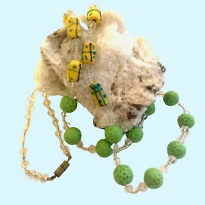"""Old Chinese Jade 5 holes Pierced Carved Beads Yellow Glass Necklace 28"""""""