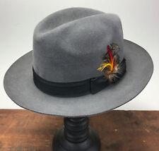 Mens Vintage Bailey Grey Fur Felt Fedora Porkpie Feather Hat Black Ribbon 7