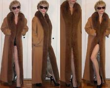 Marvin Richards Tan Brown Lambswool Full Length COAT Fur (Fox?) Shawl Collar 10