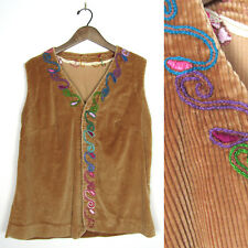 Vintage 60s CORDUROY HIPPIE VEST Psychedelic Embroidered COLORFUL Handmade 1960s