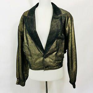 Gene Ewing BIS Bomber Jacket Small Gold Black Metallic Shimmer Mylar Vintage