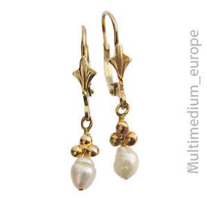 333er Gelbgold Ohrringe Perle 8ct yellow gold earrings pearl 8k 🌺🌺🌺🌺🌺