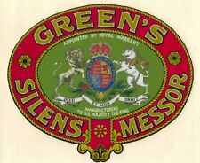 Greens 'Silens Messor' Antique / Vintage Mower Large Repro Grass Box Decal