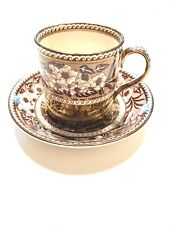 Antique WEDGWOOD Fallow Deer Demitasse Cup & Saucer Brown Copper Transferware
