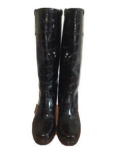 STUART WEITZMAN Faux Patent Leather Croc Design Black Knee High Heeled Boots 7.5