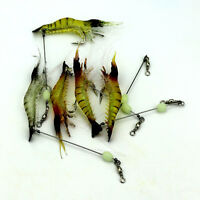 5Pcs Soft Lifelike Shrimp Prawn Fishing Lures Luminous Bead Hook Bait
