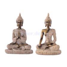 2pcs Handgeschnitzten Sandstein Sitzende Buddha Figur Statue