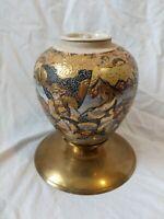 """Vintage 7"""" Satsuma Japanese Porcelain INCENSE CENSER VASE Brass laquer tea caddy"""