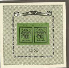 SVIZZERA 1943 FOGLIETTO CENT. BOLLO CANTONALE GINEVRA MNH ** UNIFICATO BF 10