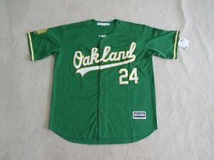 OAKLAND A'S Legend #24 Rickey HENDERSON Stitch Kelly Green Jersey Men XL NEW