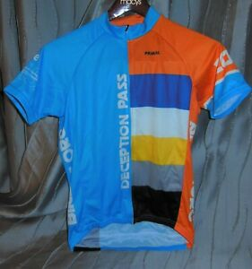 PRIMAL Mens Sport Cut Raglan JERSEY Orange Blue Bike MS Sz S Deception Pass New