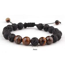 8mm Natural Tiger Eye Stone Lava Stone Volcanic Rock Beads Adjustable Bracelet A