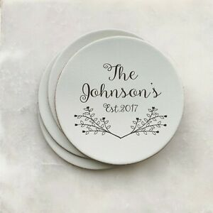Personalised Family Coaster Set & Stand, Engraved Leather Gift Home Decor Inspo