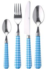 Renberg 24 Piece Stainless Steel Cutlery Set with Blue & White Checkered Handles
