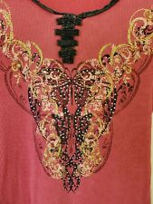 """Long Sleeve Top Red Studs design / Black Trim 100% cotton Small """" One world"""""""