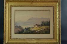 TABLEAU fréd.  Dandiran Vue du Lac Léman Mont blanc Suisse animée 1850 Montagne