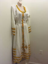 Traditional embroidered Ethiopian Eritrea dress 100% cotton-Yellow-gold Blue 2ps