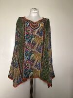 Tolani L NWOT 100% silk top/coverup/tunic Beautiful Paisley print Current style