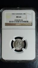 1921 Canada Ten Cents NGC MS64 Coin Silver Dime George V 10c