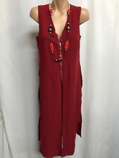 CAROLINE MORGAN SIZE 8 RICH RED ZIPPERED SLEEVELESS LAYERED TUNIC DRESS