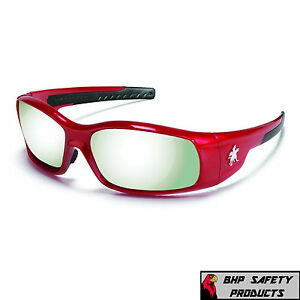 MCR CREWS SWAGGER SAFETY GLASSES SR137 RED FRAME/SILVER MIRROR LENS SUNGLASSES