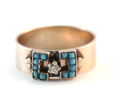Victorian Diamond and Turquoise Band Ring 14k Rose Gold Size 8.5