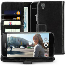 Genuine Leather Wallet Case For The Sony Xperia XA1 Plus License Slot Flip Cover