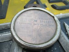 TAX DISC VINTAGE HOLDER WITH OLD VEHICLE LICENSE DISC MARCH 1936 - TRIUMPH CYCLE