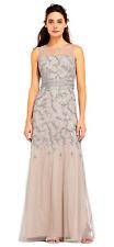 Adrianna Papell Vine Beaded Mermaid Dress With Illusion Neckline   12   $379