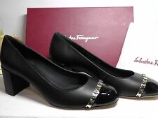 Salvatore Ferragamo BLACK Leather & Patent Leather  Avella Pumps Sz 9.5B**$550**