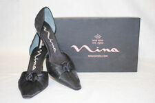 "NINA Black Genuine Leather ""Henna"" Pointed Toe Heels Womens Size 7M-B26"