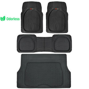 MotorTrend Deep Dish Rubber Floor Mats & Trunk Cargo Set Black Heavy Duty 4 PC