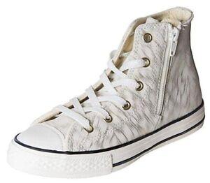 Converse Girl's CTAS Side Zip Hitop Gold Shimmer/Black/White, 1 M Junior