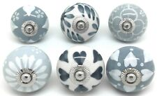 6 These Please Ceramic Door Knobs Drawer Handles SECONDS Grey & White Mix D6