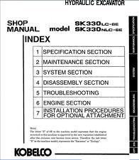 Kobelco SK330 LC-6E NLC-6E Hydraulic Excavator Shop Service Manual