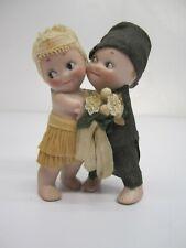 Vtg c1930s Rose O'Neill Kewpie Bride & Groom Hugger Figurine Wedding Cake Topper